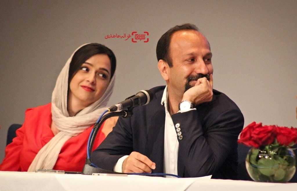 عکس ترانه علیدوستی و اصغر فرهادی در نشست خبری فیلم فروشنده
